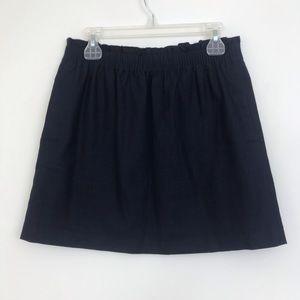 J Crew Linen Blend Mini Skirt Navy Blue Size 8